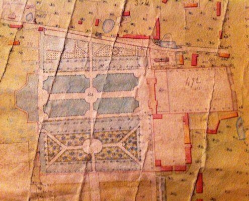 Plan château et jardins de Bretteville